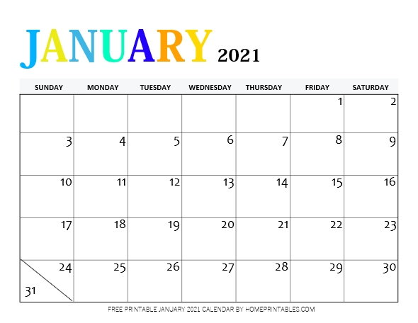 free printable January 2021 calendar PDF