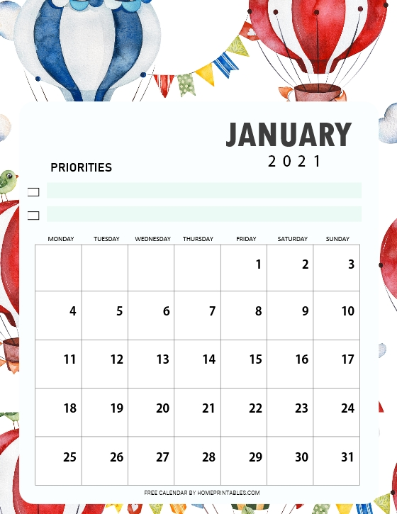 Free Printable January 2021 Calendar in PDF for Everyone!