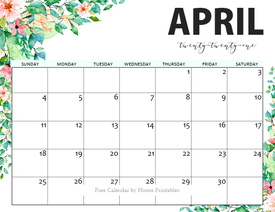 free printable April 2021 calendar pdf