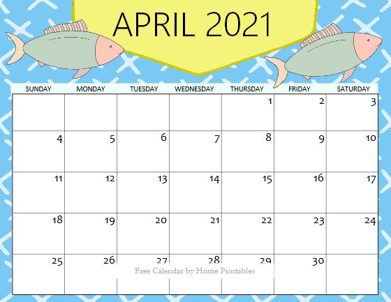 cute April calendar pdf