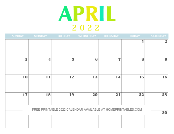 April 2022 Calendar Printable PDF