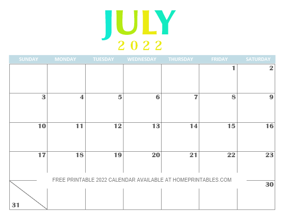 Free Printable July 2022 Calendar PDF