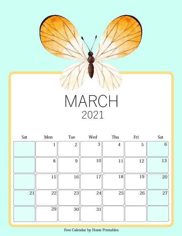 free printable March 2021 calendar cute