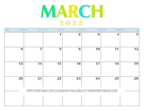 March 2022 Calendar Free Printable