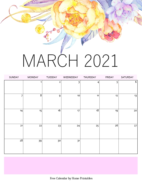 beautiful March calendar 2021 PDF