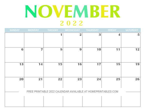 November 2022 Calendar Printable PDF