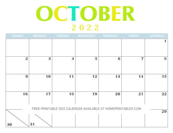 October 2022 Calendar PDF