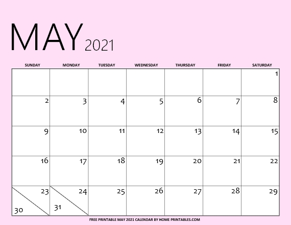May calendar 2021 printable PDF
