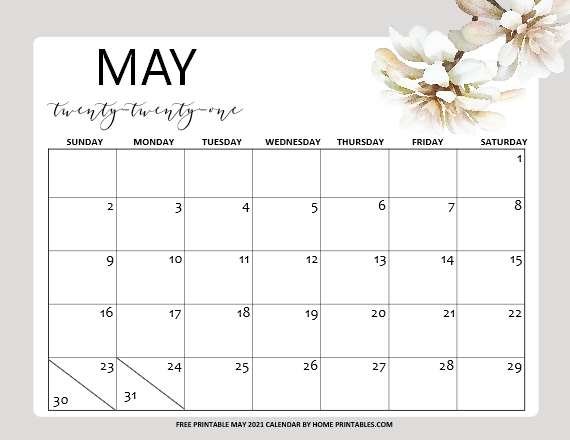 May calendar 2021