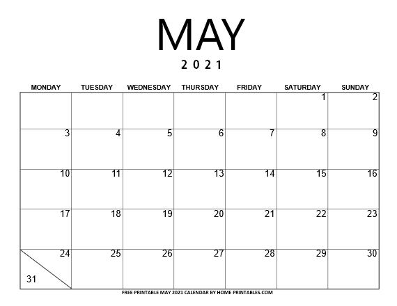 May 2021 calendar Monday Start