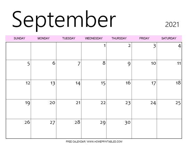 September calendar Monday