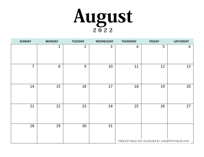 August 2022 Calendar