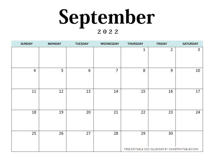 September 2022 Calendar Editable Word
