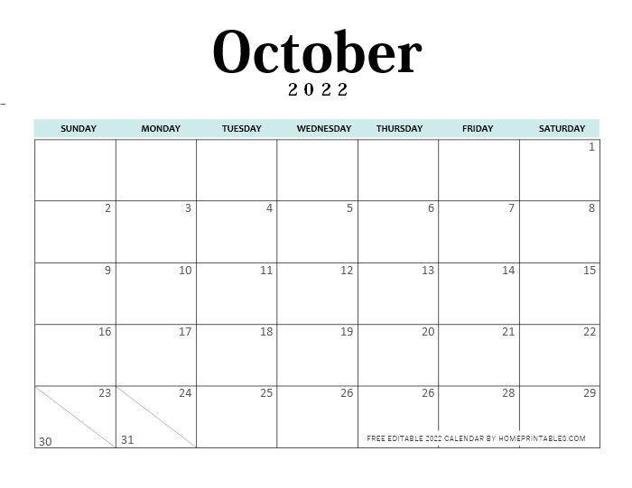 October 2022 Calendar Editable Template