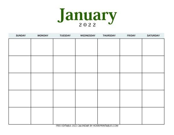 January 2022 blank editable calendar