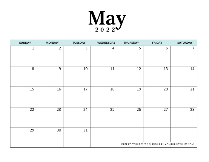 May 2022 Calendar Editable
