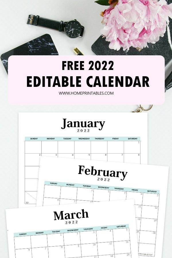 editable 2022 calendar template