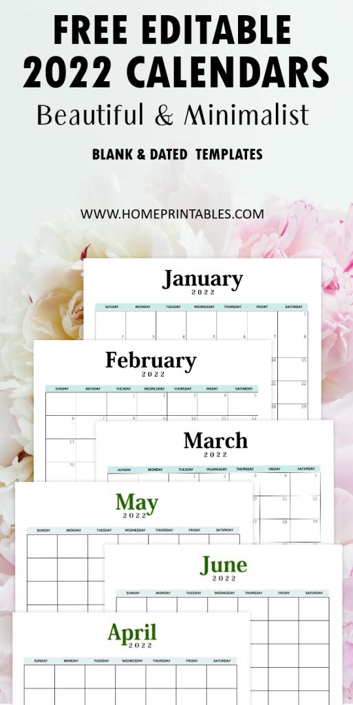 Editable 2022 calendar Word