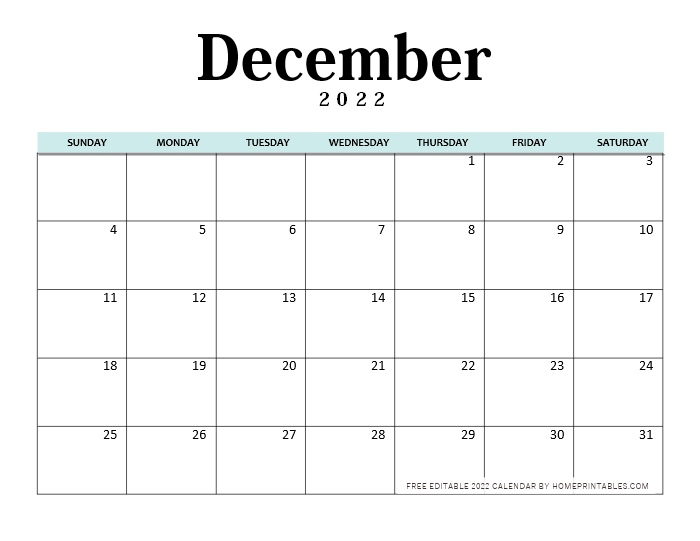 December Calendar 2022 Editable Template